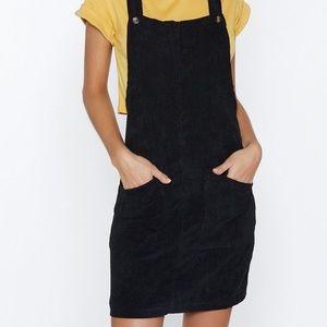 NASTY GAL    Corduroy Pinafore Dress in Black